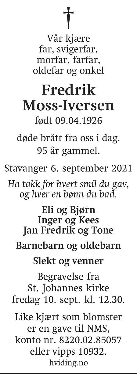 Fredrik Moss-Iversen Dødsannonse
