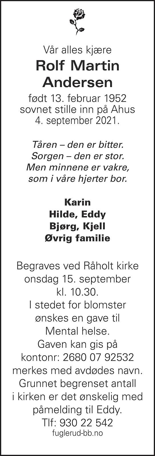 Rolf Martin Andersen Dødsannonse