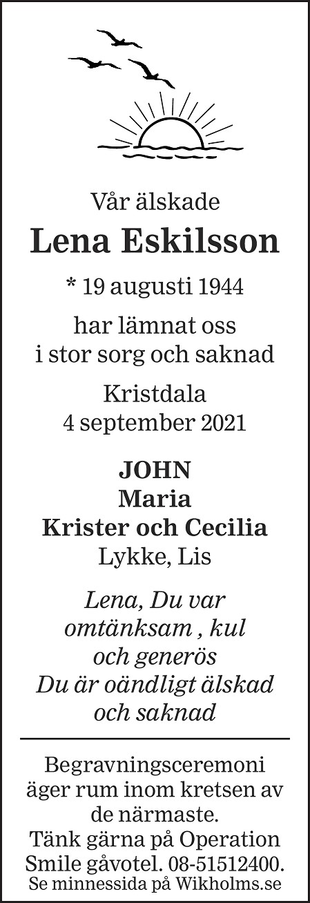 Lena Eskilsson Death notice