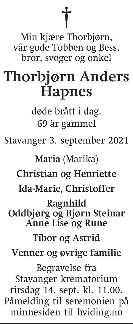 Thorbjørn Anders Hapnes Dødsannonse