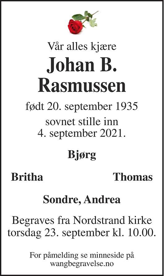 Johan Brede Rasmussen Dødsannonse