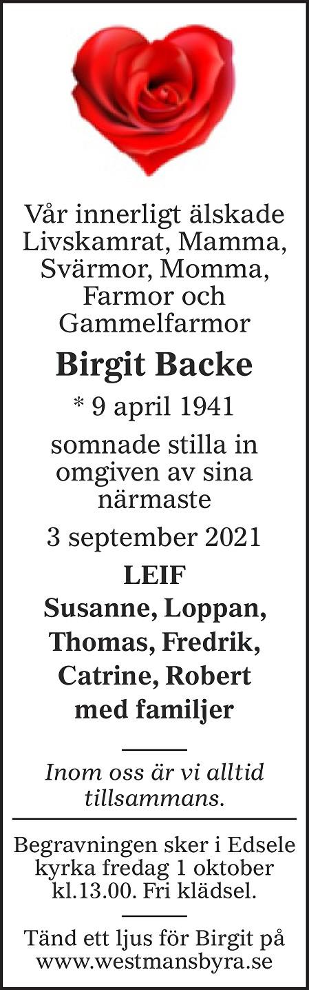 Birgit Backe Death notice