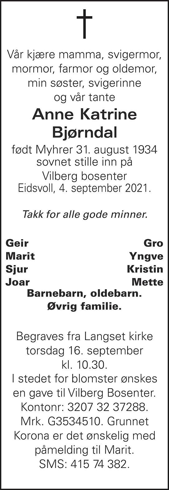 Anne Katrine Bjørndal Dødsannonse