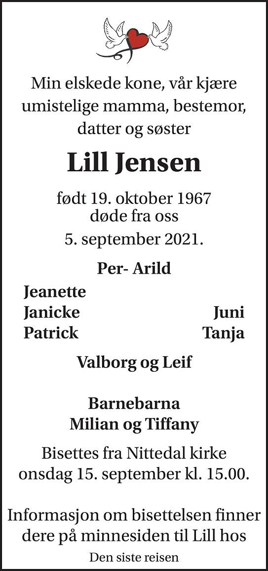 Lill Jensen Dødsannonse