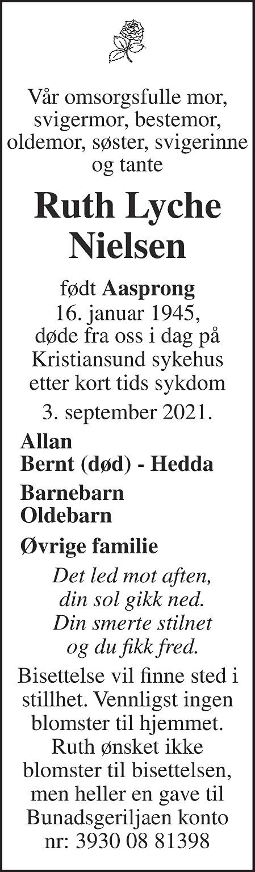 Ruth Lyche Nielsen Dødsannonse