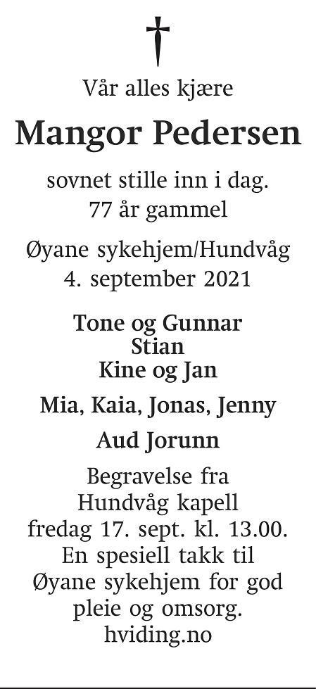 Mangor Pedersen Dødsannonse