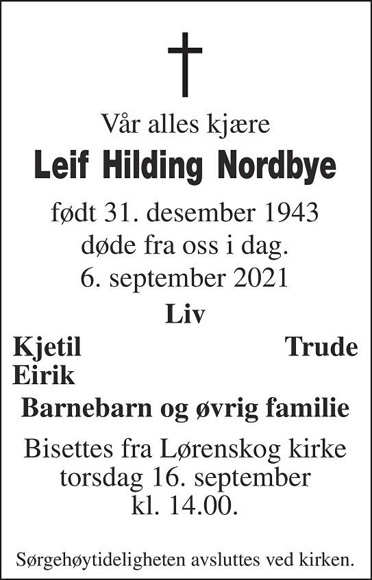 Leif Hilding Nordbye Dødsannonse
