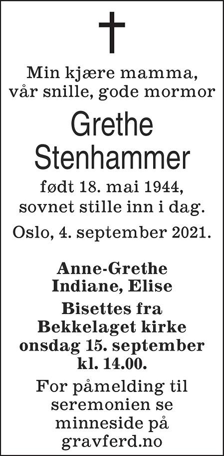 Grethe Stenhammer Dødsannonse