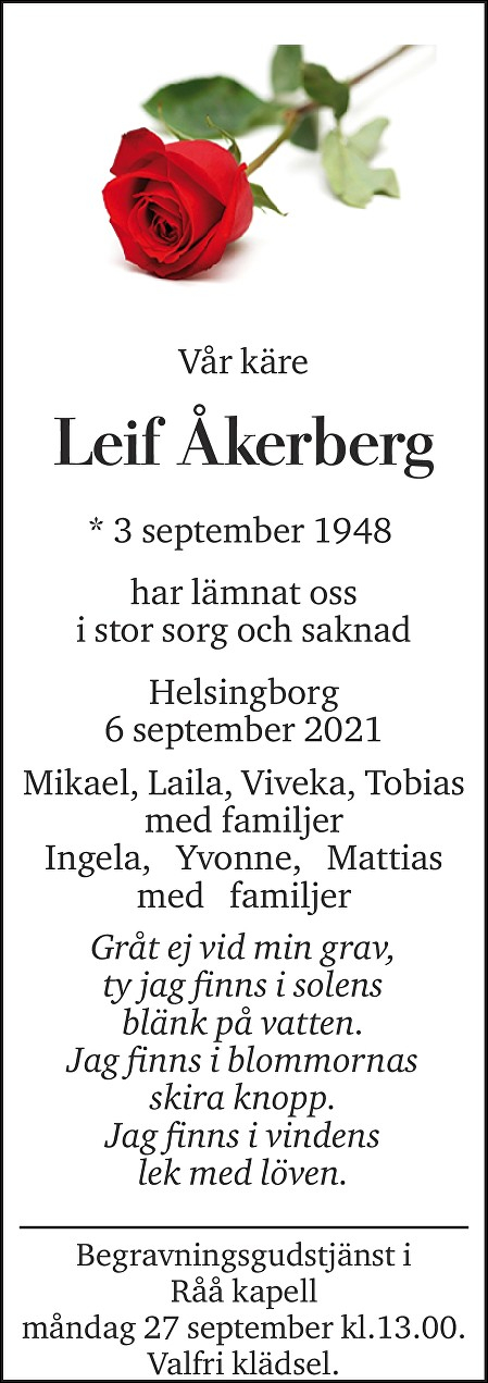 Leif Åkerberg Death notice