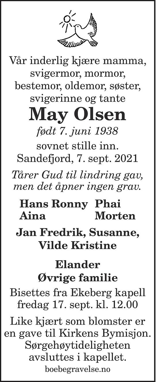 May Olsen Dødsannonse