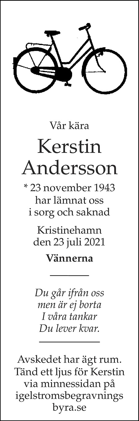 Kerstin Andersson Death notice