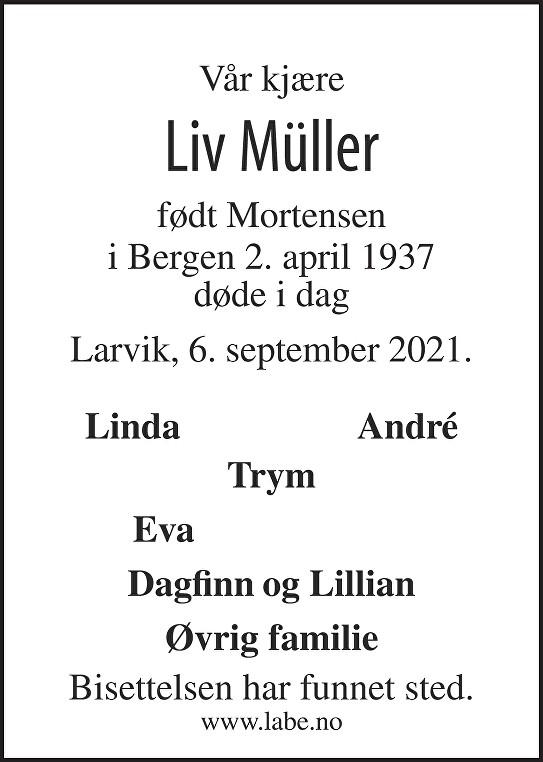 Liv Müller Dødsannonse
