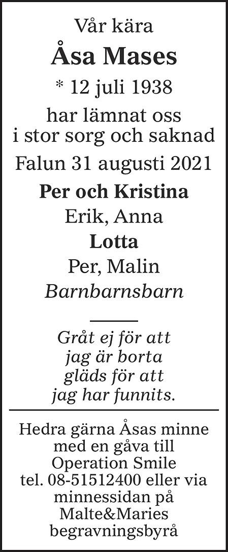 Åsa Mases Death notice