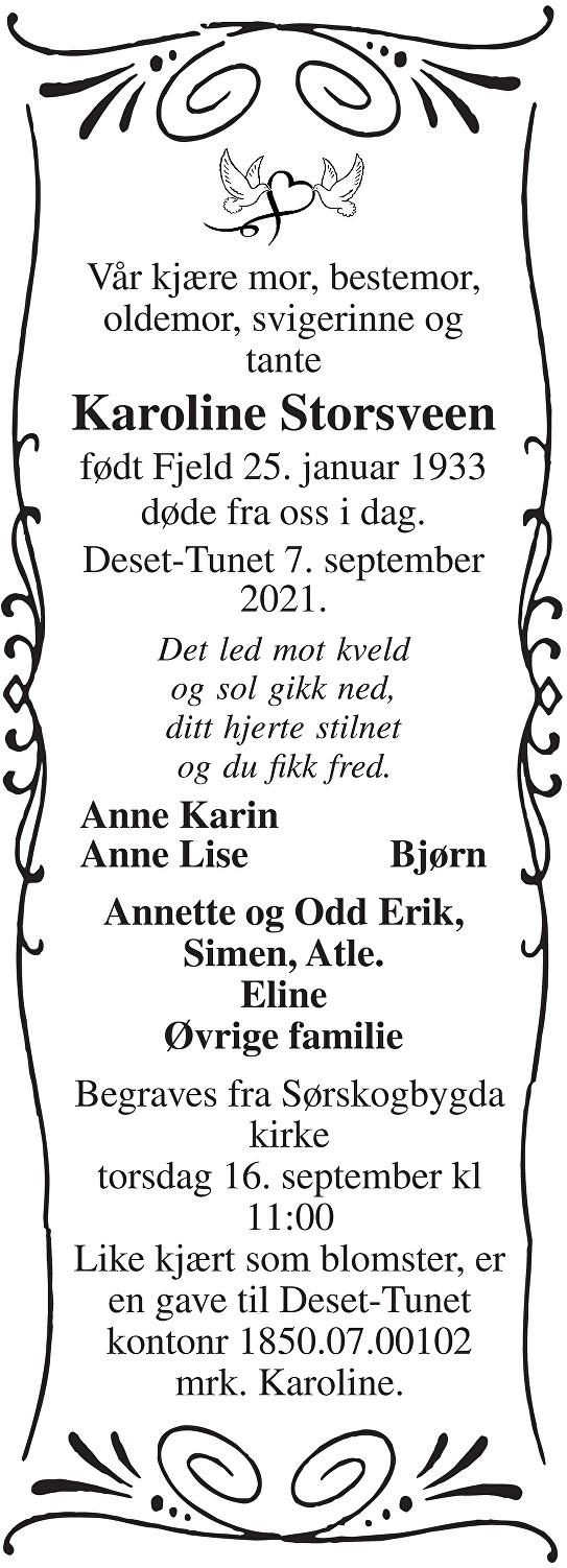 Karoline Storsveen Dødsannonse