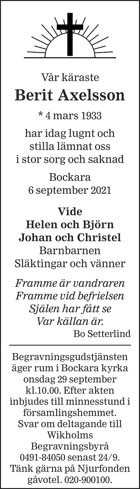 Berit Axelsson Death notice