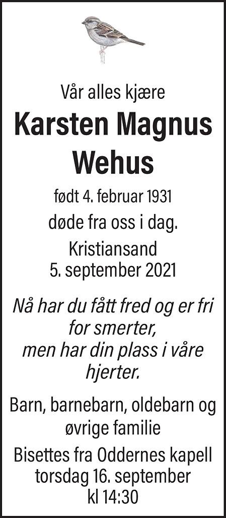 Karsten Magnus Wehus Dødsannonse