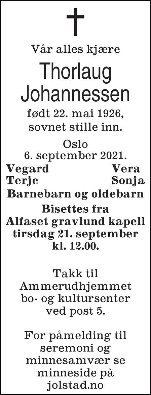 Thorlaug Johannessen Dødsannonse
