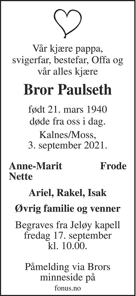 Bror Paulseth Dødsannonse