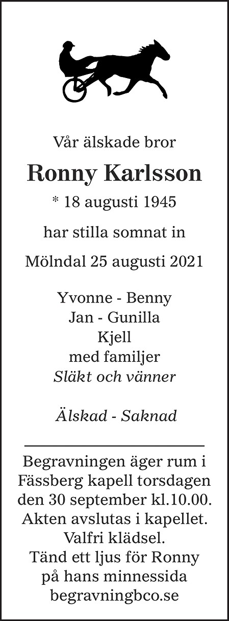 Ronny  Karlsson Death notice
