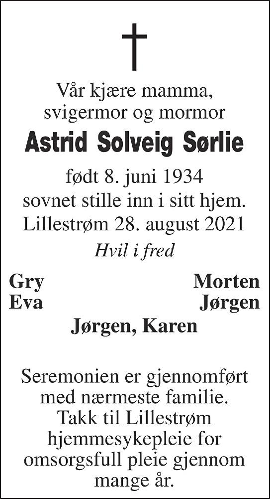Astrid Solveig Sørlie Dødsannonse