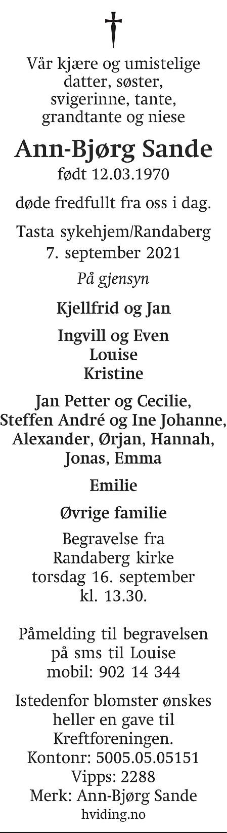 Ann-Bjørg Sande Dødsannonse