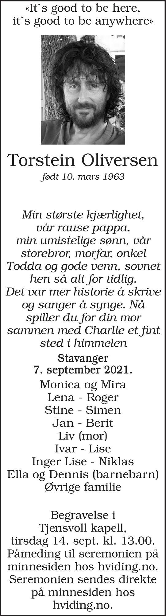Torstein  Oliversen Dødsannonse