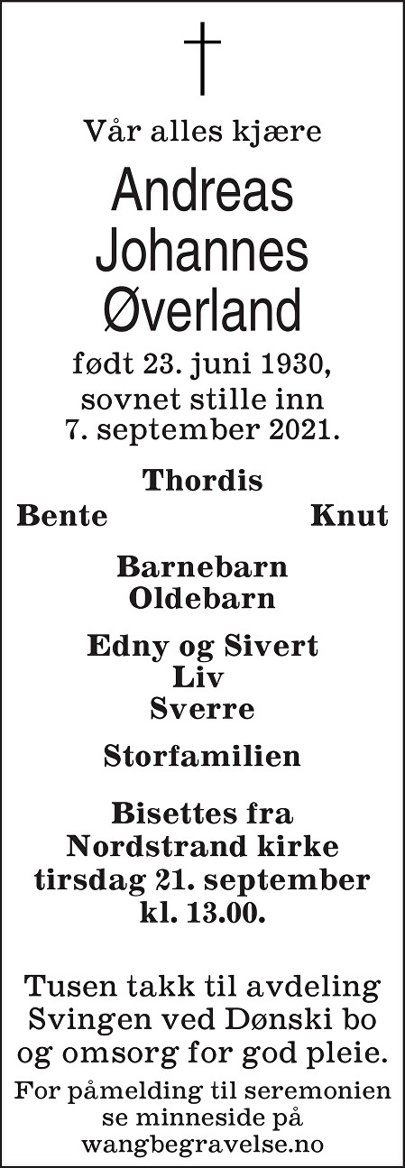 Andreas Johannes Øverland Dødsannonse