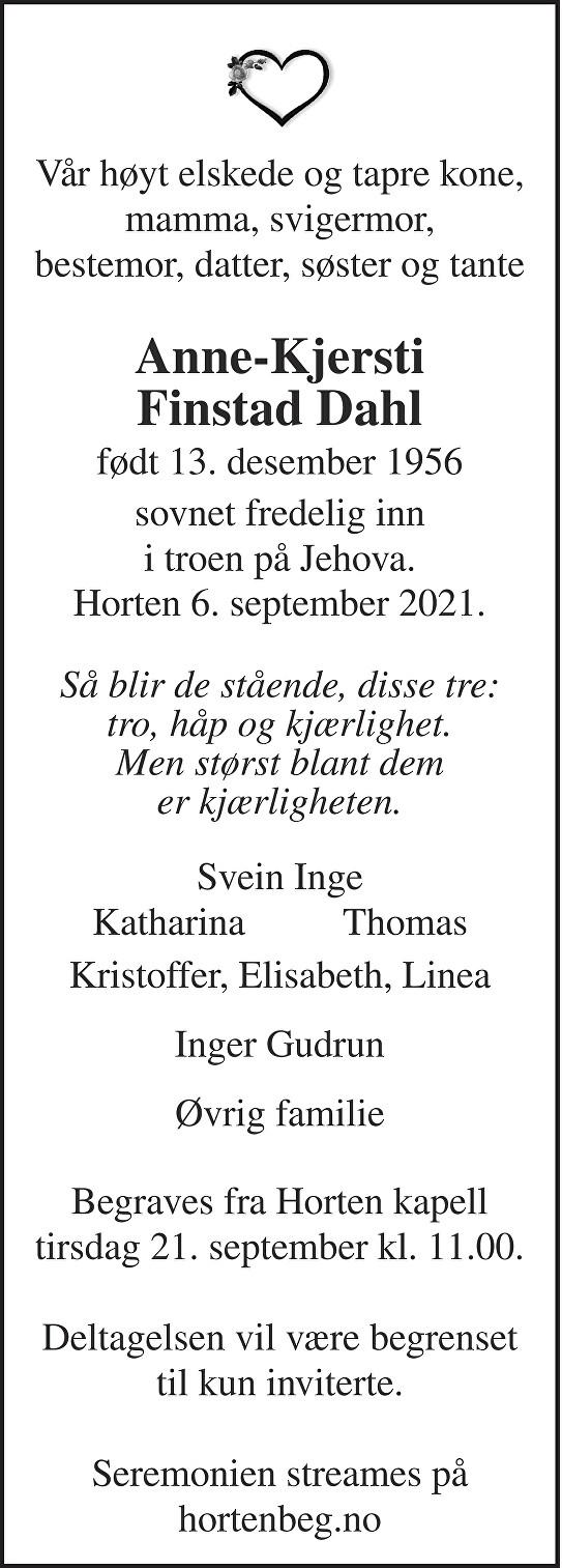Anne-Kjersti Finstad Dahl Dødsannonse