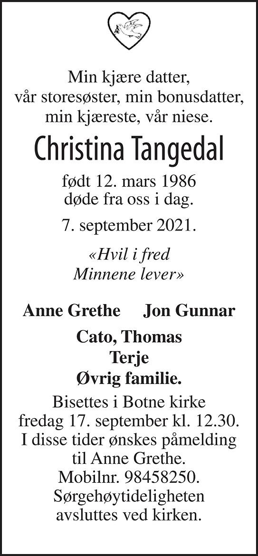 Christina Tangedal Dødsannonse