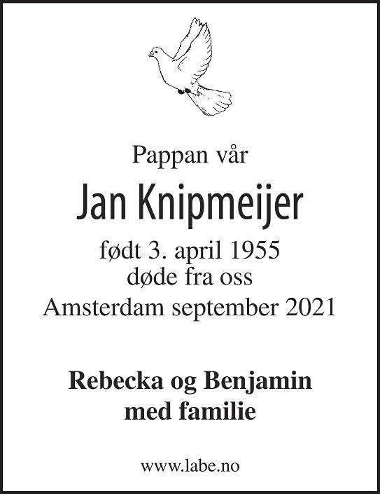 Jan Knipmeijer Dødsannonse