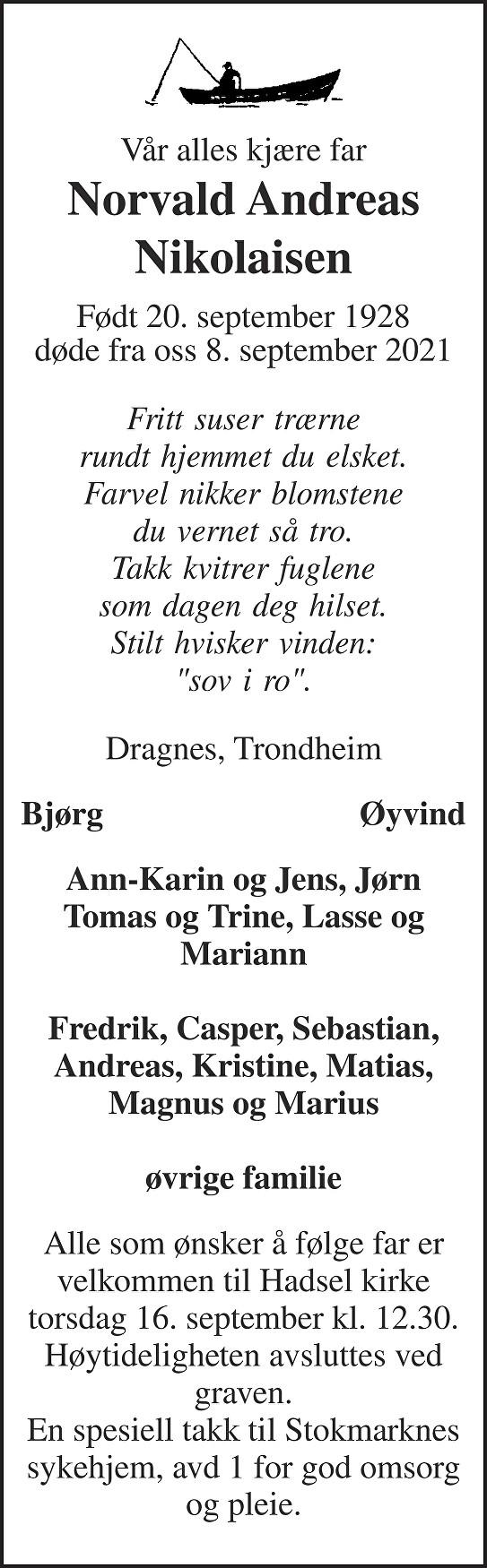 Norvald Andreas Nikolaisen Dødsannonse