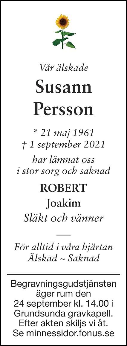 Susann Persson Death notice