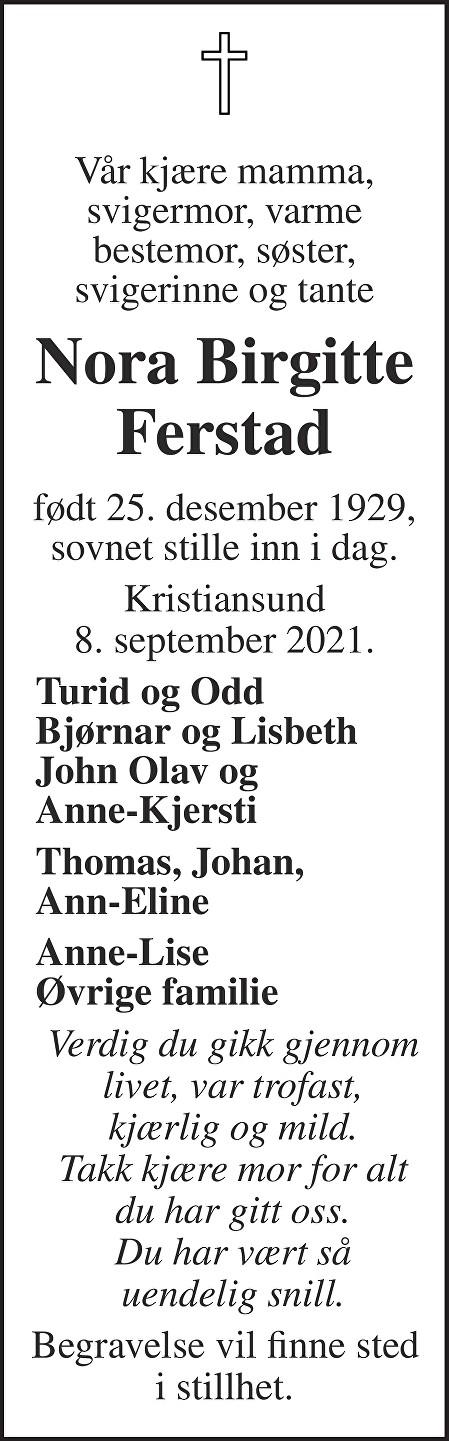 Nora Birgitte Ferstad Dødsannonse