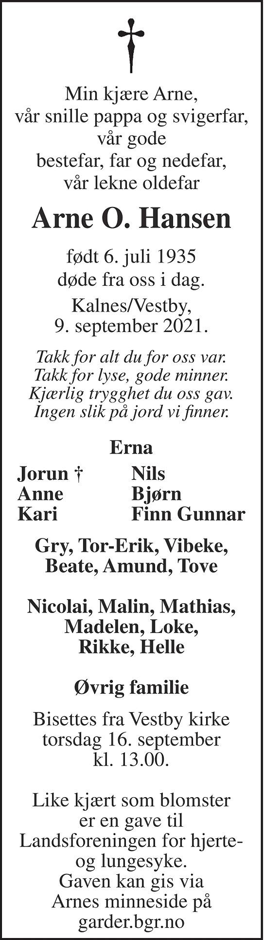 Arne Oddvar Hansen Dødsannonse