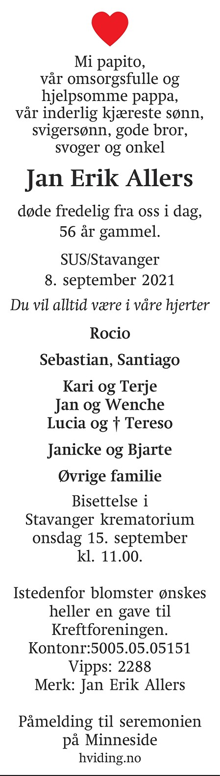 Jan Erik Allers Dødsannonse