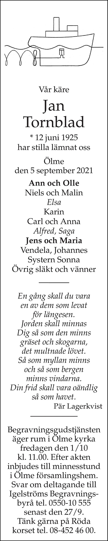 Jan Tornblad Death notice