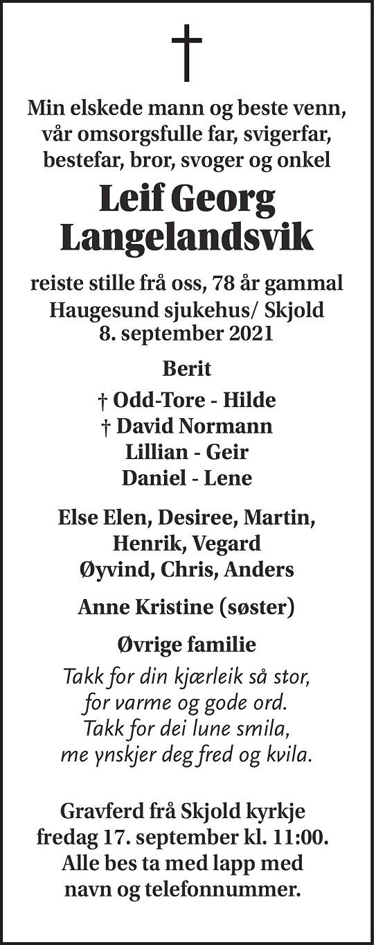 Leif Georg Langelandsvik Dødsannonse