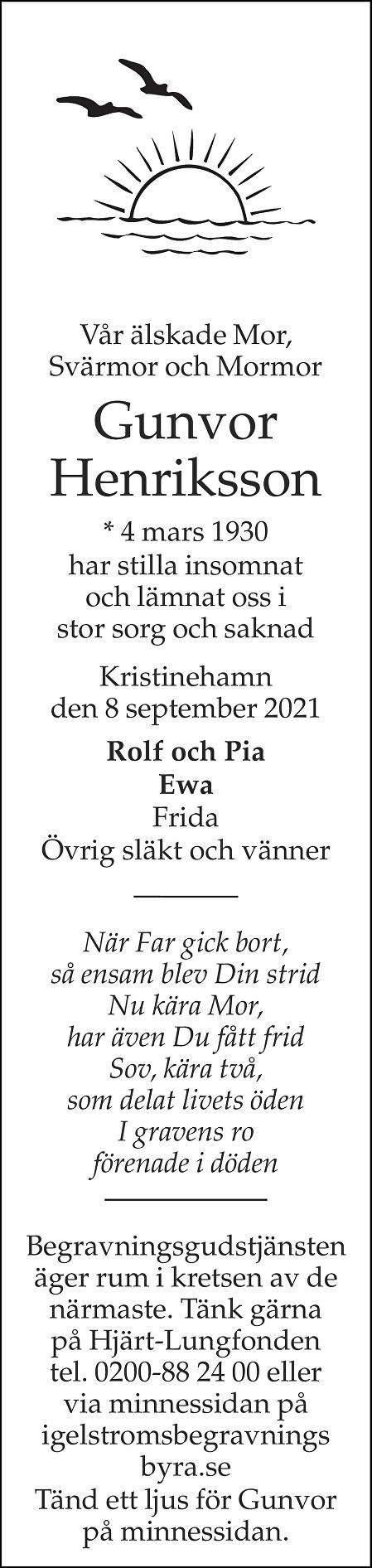 Gunvor Henriksson Death notice