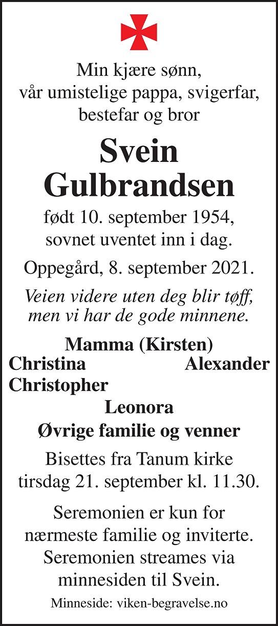 Svein Gulbrandsen Dødsannonse