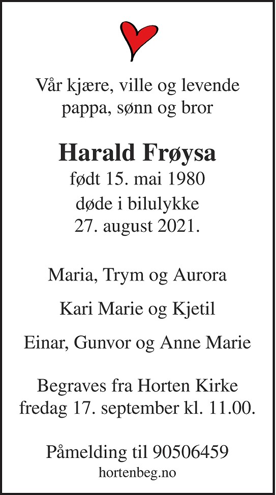 Harald Frøysa Dødsannonse