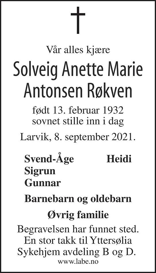 Solveig Anette Marie Antonsen Røkven Dødsannonse