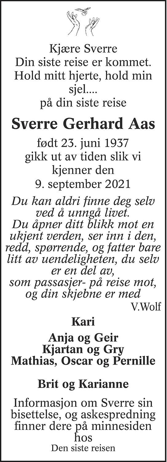 Sverre Gerhard Aas Dødsannonse
