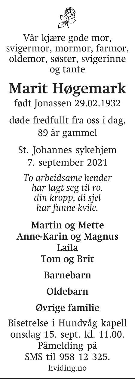 Marit Høgemark Dødsannonse