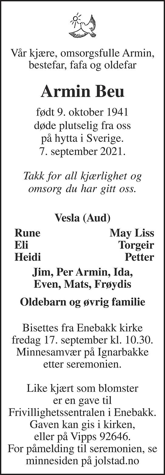 Armin Beu Dødsannonse
