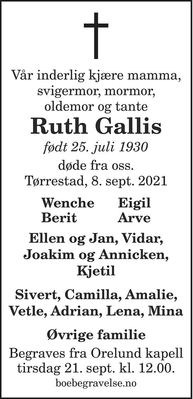 Ruth Gallis Dødsannonse