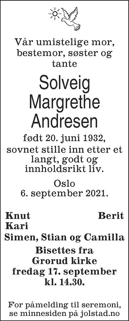Solveig Margrethe Andresen Dødsannonse