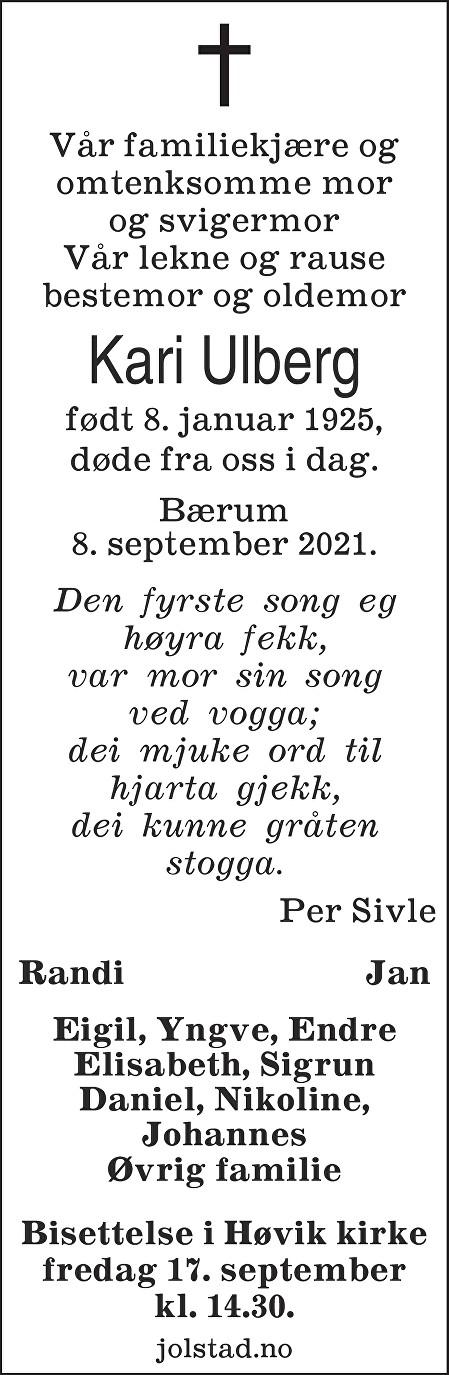 Kari Ulberg Dødsannonse