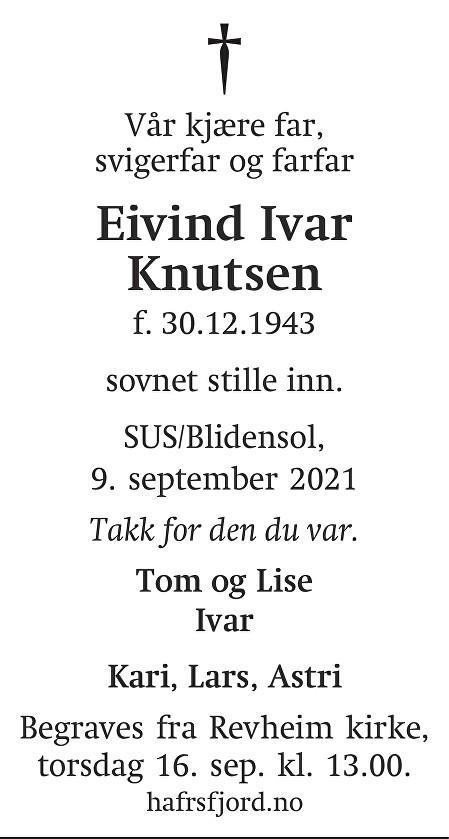 Eivind Ivar Knutsen Dødsannonse