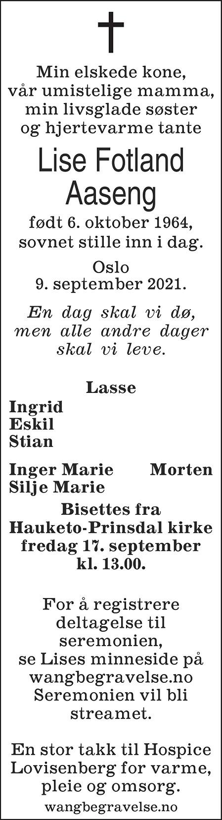 Lise Fotland Aaseng Dødsannonse