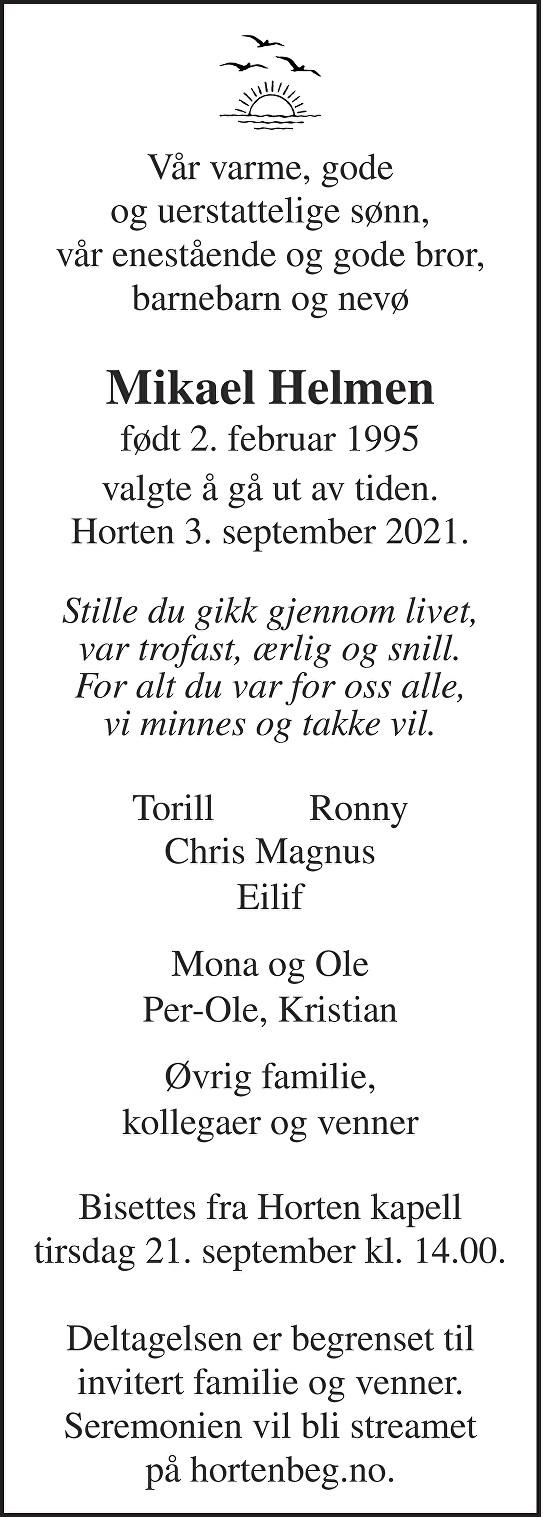 Mikael Helmen Dødsannonse
